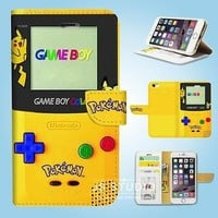 iPhone 6 6 Plus 5 5S 5C 4 4S Flip Wallet Case Cover Pokemon Gameboy W082