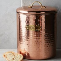 Hammered Copper Cookie Jar by Anthropologie in Copper Size: One Size Kitchen