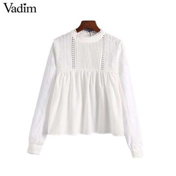 Vadim women sweet floral embroidery loose blouse long sleeve O neck pleated shirts female casual cute tops blusas LA347