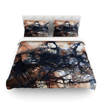 "Steve Dix ""Looking for Water"" Brown Black Featherweight Duvet Cover"