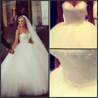 Elegant Lace Ball Gown Wedding Dresses Bridal Gown White/Ivory Custom US 2-18-20