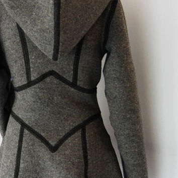 Wool Coat with Hood and Tie Waist by BajaSoul on Etsy