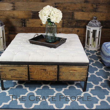 LARGE Tufted Ottoman - Vintage Wood Crates and European Grain Sack Fabric | Custom Furniture