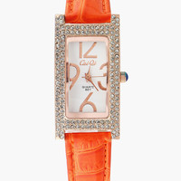 Rhinestone Beaded Rectangular Wrist Watch