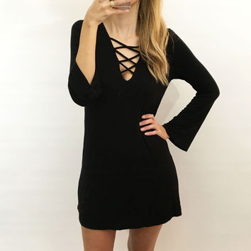 Lace Up Longsleeve Dress