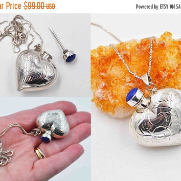 ON SALE Vintage 925 Sterling Silver Perfume Pendant Necklace, Heart, Blue Lapis Lazuli, Chased, Puffy, Bottle, Vial, Italy Chain, Fab! #b786