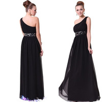 Tidetells Hot Sale Elegant A-line One Shoulder Chiffon Prom Dress Evening Dress TT158 = 1956785860