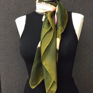 Olive Branch - Hand Painted Silk Scarf / Wrap