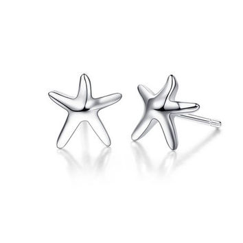 925 Sterling Silver Starfish Stud Earrings