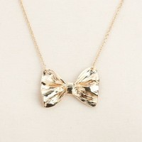 Metallic Bow Short Necklace: Charlotte Russe