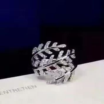 Tiffany&Co Wizardry leaves Ring Womens Noble High 2018 New Serpenti ring AAAA diamond drill hollowed out 18 K gold