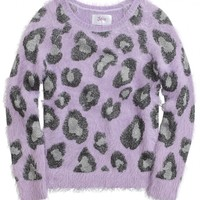 Fuzzy Animal Print Sweater