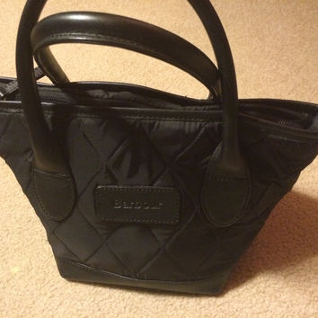 Black Nylon Quilted Barbour Satchel Handbag (Small/Indie Brands)