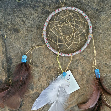 Small Dream Catcher, Handmade 5 Inch, Gold Feathered Wall Hanging Art, Gift for Teen Girls, Traditional Native American Decor