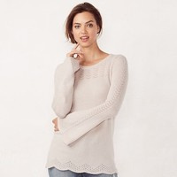 Women's LC Lauren Conrad Pointelle Crewneck Sweater | null