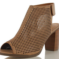 Peep Toe Ankle Strap Sandal – Western Bootie Low Stacked Heel Open Toe Cutout Velcro – Casual