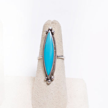 Vintage 60s Ring - Sterling Silver & Turquoise Southwest Native Jewelry 925 Sz 7