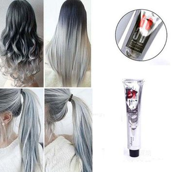 DCCKL72 1Pc 100Ml Fashion Light Gray Color Natural Permanent Super Hair Dye Cream