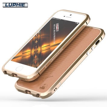 Brand Luxury Shockproof Ultra Thin Back Leather + Metal Aluminum Bumper Frame Case Cover For iphone SE 5 5S 6 6S Plus Shell