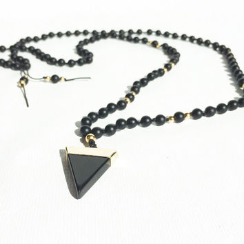 Long Beaded Necklace Black Agate Boho Jewelry Crystal Mala Necklace Black Mala Beads Black and Gold Triangle Pendant Necklace