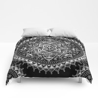 White Flower Mandala on Black Comforters by Laurel Mae