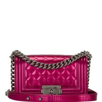 Madison Avenue Couture Chanel Fuchsia Pink Metallic Patent Small Boy