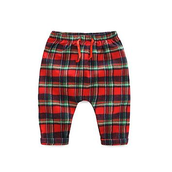 Xirubaby spring baby boys 0-2 years plaid cotton pants newborn girls 3-24 month elastic waist harem pants infant casual trousers