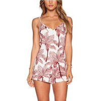 Fashion Print V-Neck Sleeveless Strap Backless Romper Jumpsuit Shorts