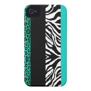 Aqua Blue Leopard and Zebra Custom Animal Print iPhone 4 Case-Mate Case from Zazzle.com