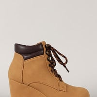 Qupid Olee-08 Round Toe Lace Up Wedge Sneaker
