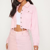 Pink Two Tone Cropped Denim Jacket