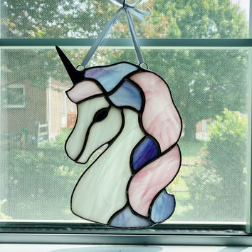 Stained Glass Unicorn Suncatcher, Unicorn Decoration, Pink Purple Unicorn, Fantasy, Princess, Mythical Creature, Nursery Decor, Unicorn Art