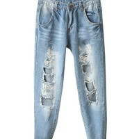 Washed Denim Jeans with Holes on the Knee