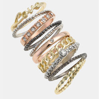 Carole Mixed Metal Stackable Rings (Set of 10) | Nordstrom