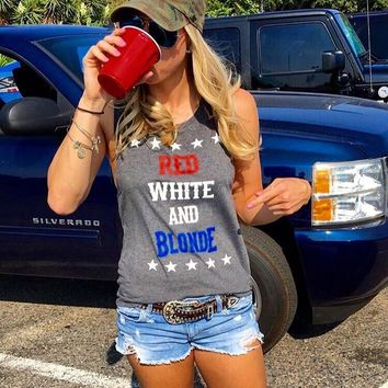 """RED WHITE AND BLONDE"" Women's Charcoal Gray Muscle Tank"