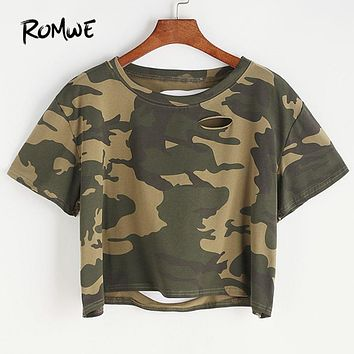 ROMWE Camo Print Ripped Tee Shirt 2018 New Arrival Ladies Multicolor Round Neck Rock Women Top Short Sleeve Crop T Shirt