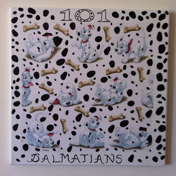 101 Dalmatians Canvas Painting by litsakiv on Etsy