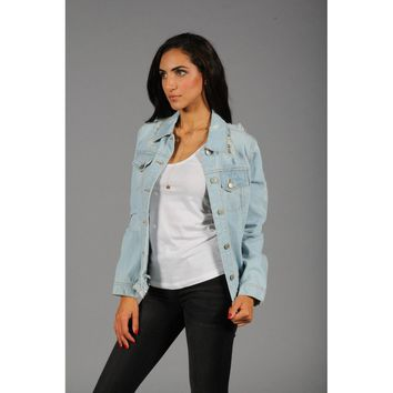 Distressed Frayed Hem Denim Jacket in Light Wash