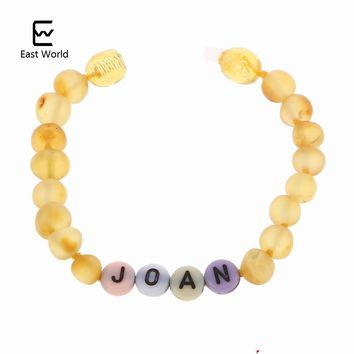 EAST WORLD Creative Design Amber Bracelet Baltic Amber Beads Customized Name Jewelry Mom Baby Gift Bracelet Personalized Bojioux