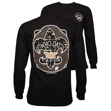 Southern Couture Who Dat Fleur de lis Saints Long Sleeve T-Shirt