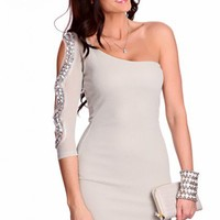 Grey Silver Shimmer Threaded One Shoulder Cut Out Long Sleeve Gem Stone Decor Stylish Dress @ Amiclubwear sexy dresses,sexy dress,prom dress,summer dress,spring dress,prom gowns,teens dresses,sexy party wear,women's cocktail dresses,ball dresses,sun dress