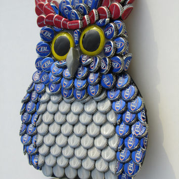 Metal Bottle Cap Bud Light Owl Wall Art  (FAU OWLS)