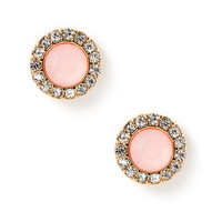 Rose Opal Cabochon and Crystal Button Stud Earrings