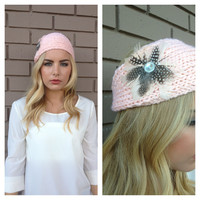 Pink Feathered Knit Headband