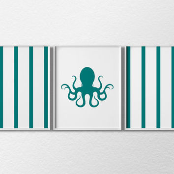Octopus Art, Octopus Print, Nautical Octopus Print, Nautical Nursery Decor, Nautical Kids Bedroom, Sea Life Wall Decor, Nautical Art