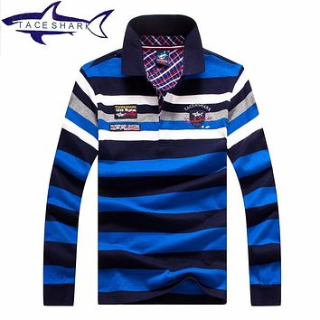 Brand TACE SHARK Men Sweater Striped Color Cotton Knitted Turn Down Collar 2016 Casual Pullovers Full Sleeves Men Sweater