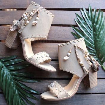 Very Volatile   Boho Shell Leather Sandals In Taupe