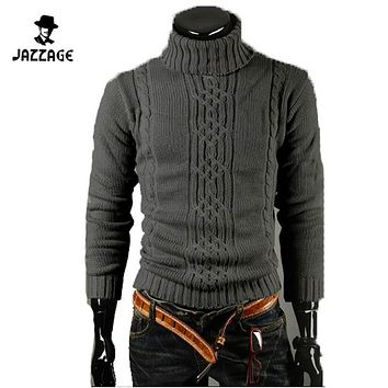 Sweater Male 2016 Men'S Cultivate One'S Morality Turtleneck Stripe Leisure Men'S Clothing Sweaters Warm Pullover Pull Homme XXL
