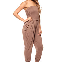 Taupe Strapless Cleo Jumpsuit
