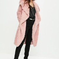 Missguided - Pink Faux Fur Coat